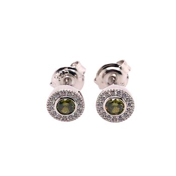 Kelly Waters Micropave Round Simulated Peridot Earrings With Simulated Diamonds