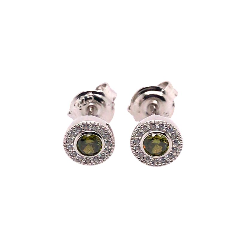 Kelly Waters Kelly Waters Micropave Round Simulated Peridot Earrings With Simulated Diamonds