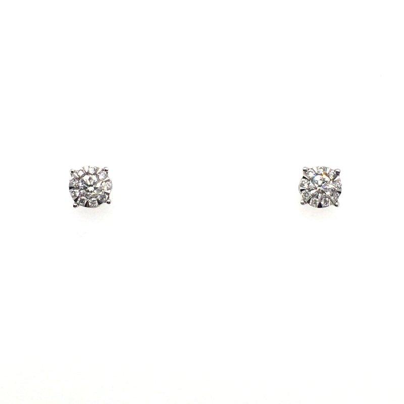Gems One Round Diamond Cluster Stud Earrings