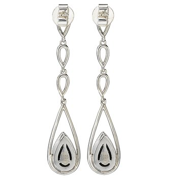 Eleganza Ladies Dangle Pave Diamond Post Earrings