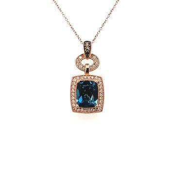 Levian Diamond & London Blue Topaz Pendant