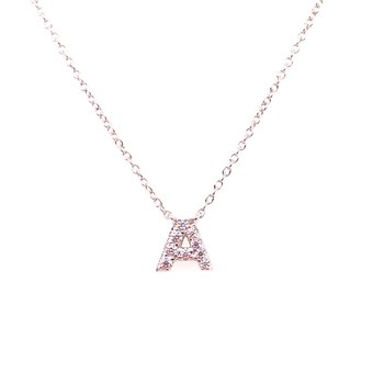 "Simulated Diamond Block Initial ""A"" Necklace"