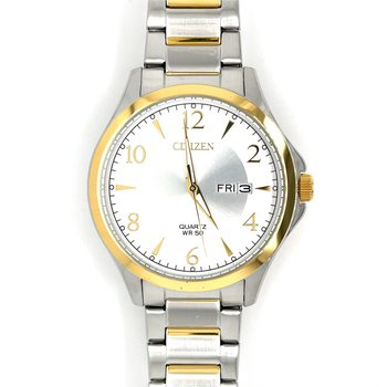Citizen Watch with White And Silver Dial, Gold Bezel And Quartz Movement