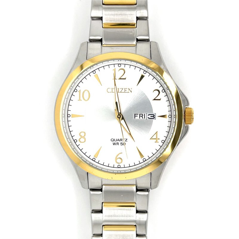 Citizen Citizen Watch with White And Silver Dial, Gold Bezel And Quartz Movement
