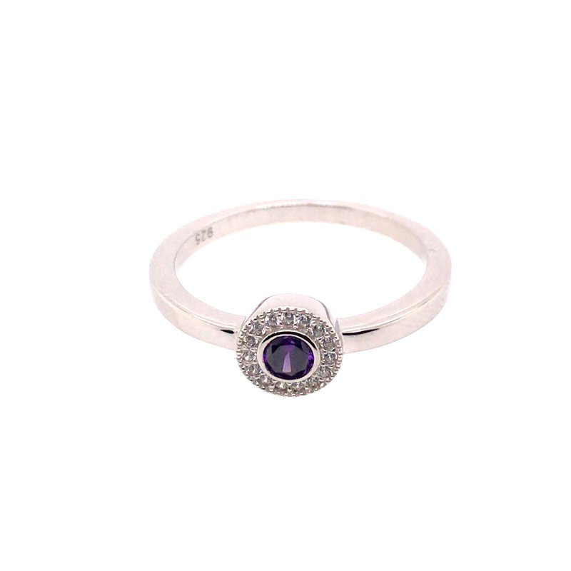 Kelly Waters Kelly Waters Micropave Round Simulated Amethyst Ring With Simulated Diamonds