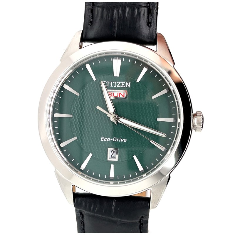 Citizen Citizzen Watch with Black Leather Strap, Green Dial With Hands That Glow At Night, Eco Drive Technology Time And Date