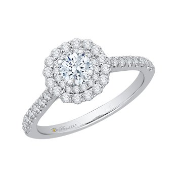 Promezza 14 Karat White Gold Round Cut Diamond Double Halo Engagement Ring