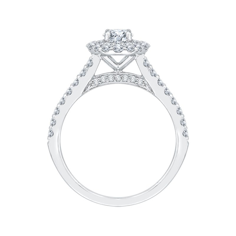 Shay Promezza 14 Karat White Gold Round Cut Diamond Double Halo Engagement Ring