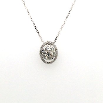 Round Diamond Oval Halo Pendant