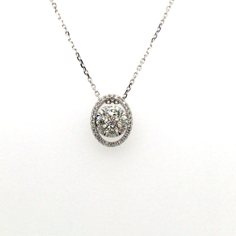 Gems One Round Diamond Oval Halo Pendant