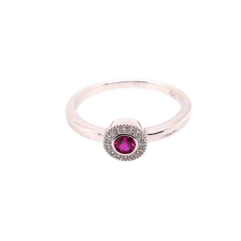 Kelly Waters Kelly Waters Micropave Round Simulated Ruby Ring With Simulated Diamonds