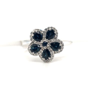 Diamond and Sapphire Floral Ring