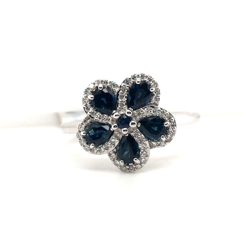 Gems One Diamond and Sapphire Floral Ring