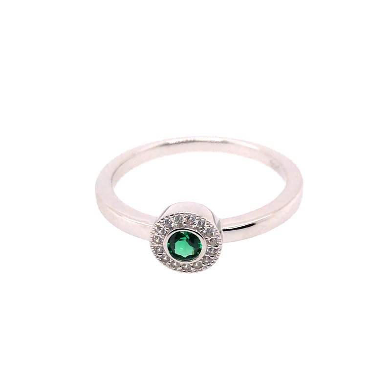 Kelly Waters Kelly Waters Micropave Round Simulated Emerald Ring With Simulated Diamonds