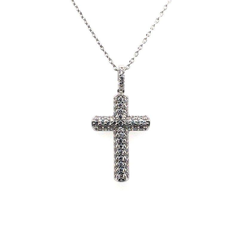 Gems One Simulated Diamond Pave Cross Pendant