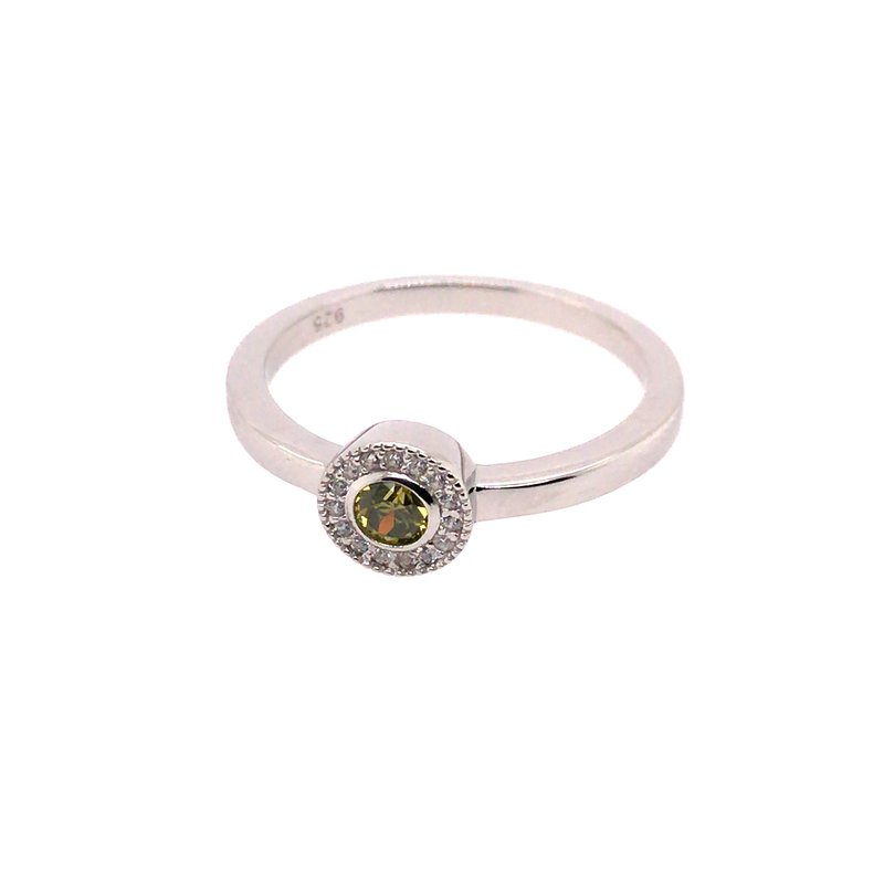 Kelly Waters Kelly Waters Micropave Round Simulated Peridot Ring With Simulated Diamonds
