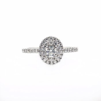 Oval Double Halo Round Center Ring