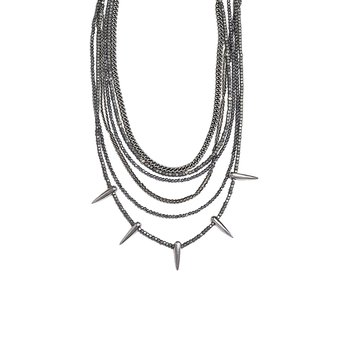 Multi Strand Hematite Necklace with Siver Chains and Spikes