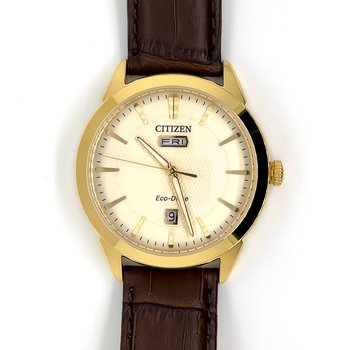 Citizen Stainless Steel Watch with Gold Plated Casing, Brown Leather Strap, Cream Texturized Dial, and Eco Drive Technology Time And Date