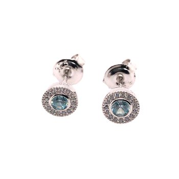 Kelly Waters Micropave Round Simulated Aquamarine Earrings With Simulated Diamonds
