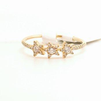 Ladies 0.20 Carat 14 Karat Yellow Gold Diamond Star Ring