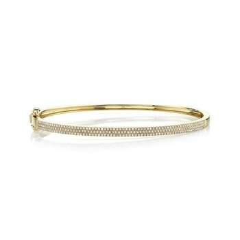 Ladies 0.52 Carat 14 Karat Yellow Gold Diamond Pave Bangle