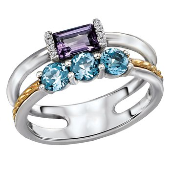 Eleganza Ladies Blue Topaz and Amethyst Ring