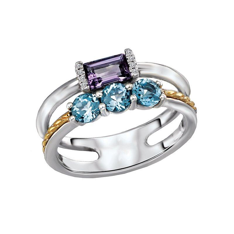 Kim International Eleganza Ladies Blue Topaz and Amethyst Ring