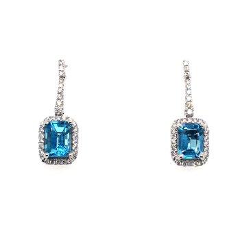 Blue Topaz and Diamond Drop Post Earrings