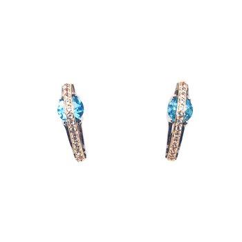 Blue Topaz Yellow Bridge Drop Stud Earrings