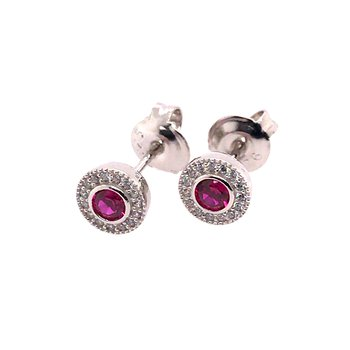 Kelly Waters Micropave Round Simulated Ruby Earrings With Simulated Diamonds