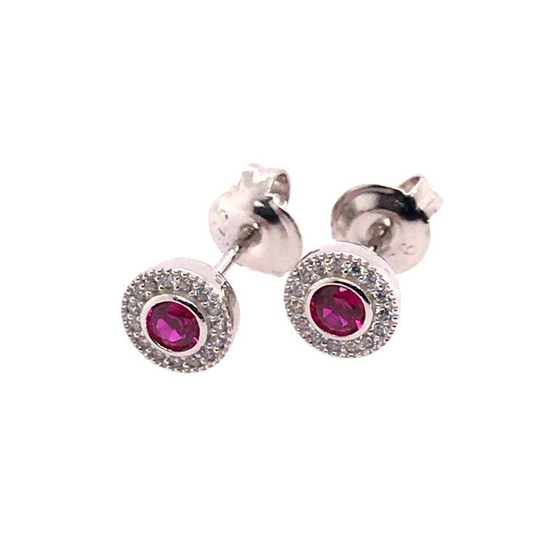 Kelly Waters Kelly Waters Micropave Round Simulated Ruby Earrings With Simulated Diamonds