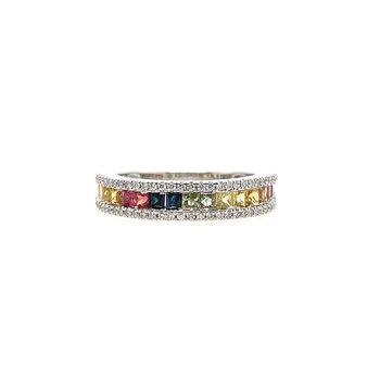 Round Diamond and Multi Color Princess Cut Sapphire Ring