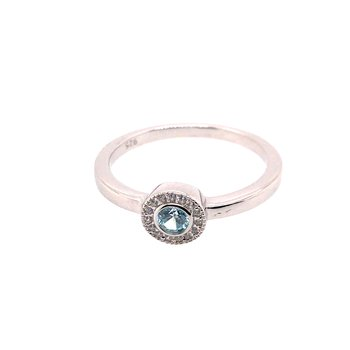 Kelly Waters Micropave Round Simulated Aquamarine Ring With Simulated Diamonds