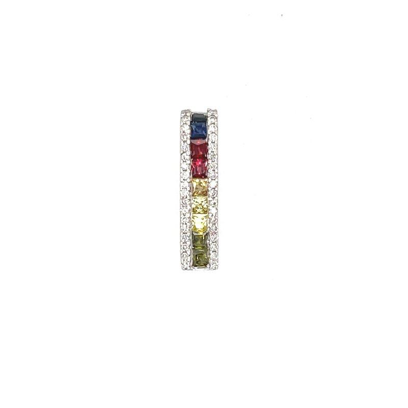 Variety Gem Diamonds & Multi Color Princess Cut Sapphire Pendant