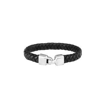 Small Braided Leather Bracelet with Hook Clasp
