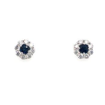 Sapphire and Diamonds Halo Stud Earrings