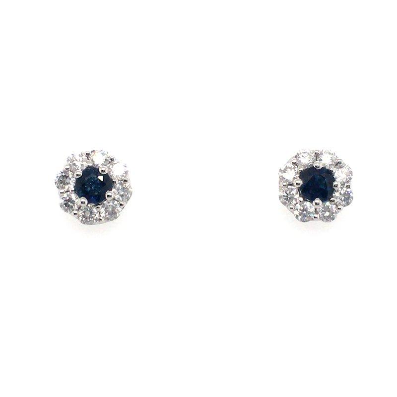 Gems One Sapphire and Diamonds Halo Stud Earrings