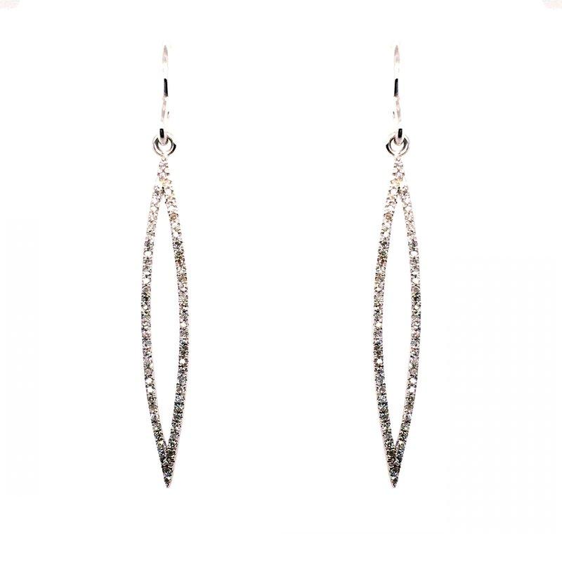Kim International Diamond Marquise French Hook Earrings