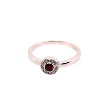 Kelly Waters Micropave Round Simulated Garnet Ring With Simulated Diamonds