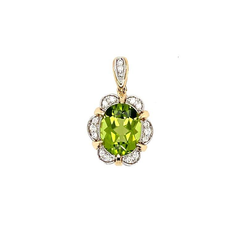 Variety Gem Diamonds & Oval Peridot Pendant