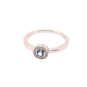 Kelly Waters Micropave Round Simulated Blue Topaz Ring With Simulated Diamonds
