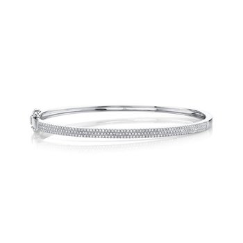 Ladies 0.52 Carat 14 Karat White Gold Diamond Pave Bangle