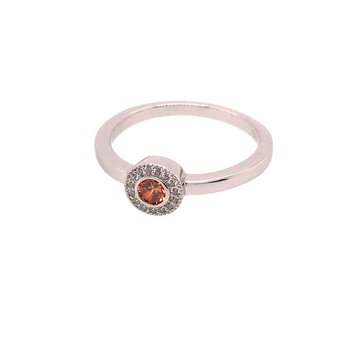 Kelly Waters Micropave Round Simulated Citrine Ring With Simulated Diamonds