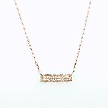 14 Karat Rose Gold Diamond Pave Bar Necklace 0.25 Carat