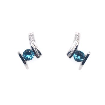 Caribbean Blue Topaz With White Sapphire Stud Drop Earrings