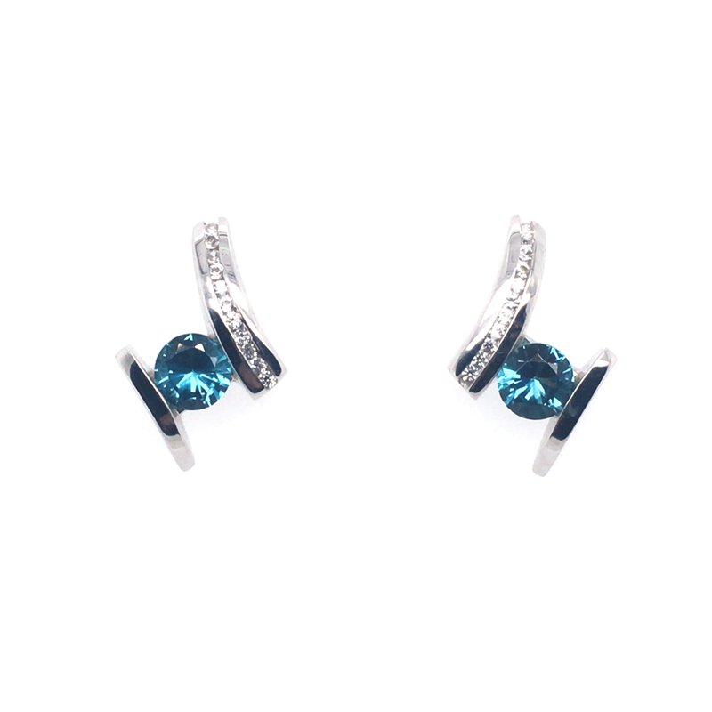 Frank Reubel Caribbean Blue Topaz With White Sapphire Stud Drop Earrings