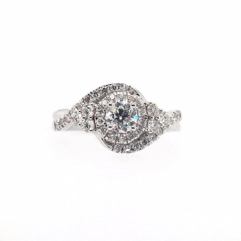 Gems One Round Diamonds and Halo Ring