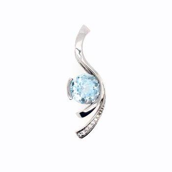 Round Blue Zircon and Diamond Pendant