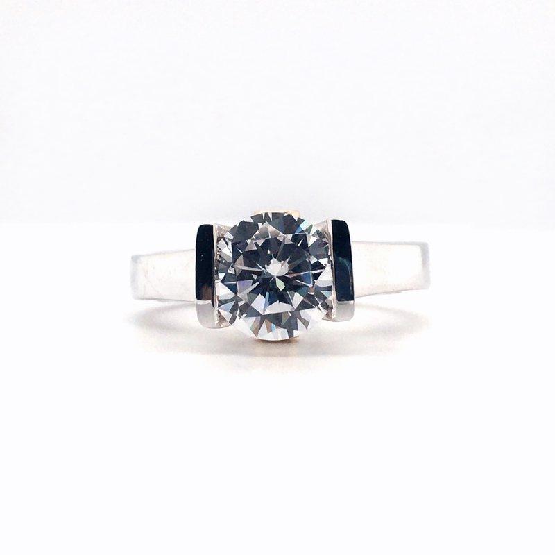 Frank Reubel White Gold and Yellow Gold Designer Bridal Semi-Mounting Center Diamond Ring